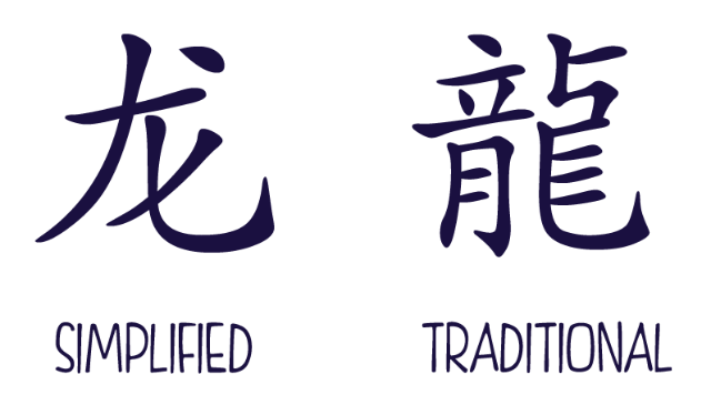 Caracter de dragon en simplificado y tradicional