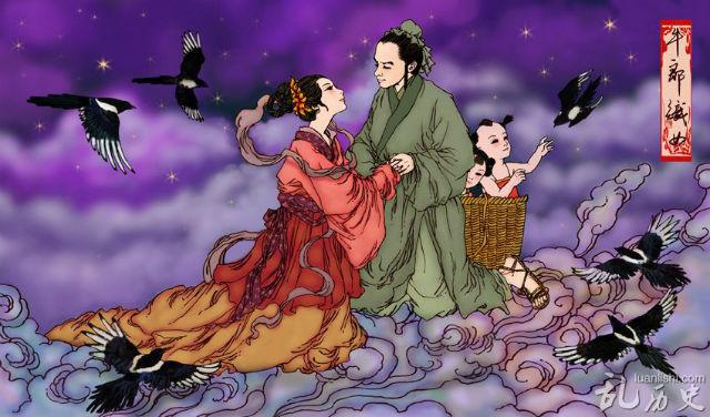 Zhinü y Niulang se reúnen en el Qixi, San Valetín chino