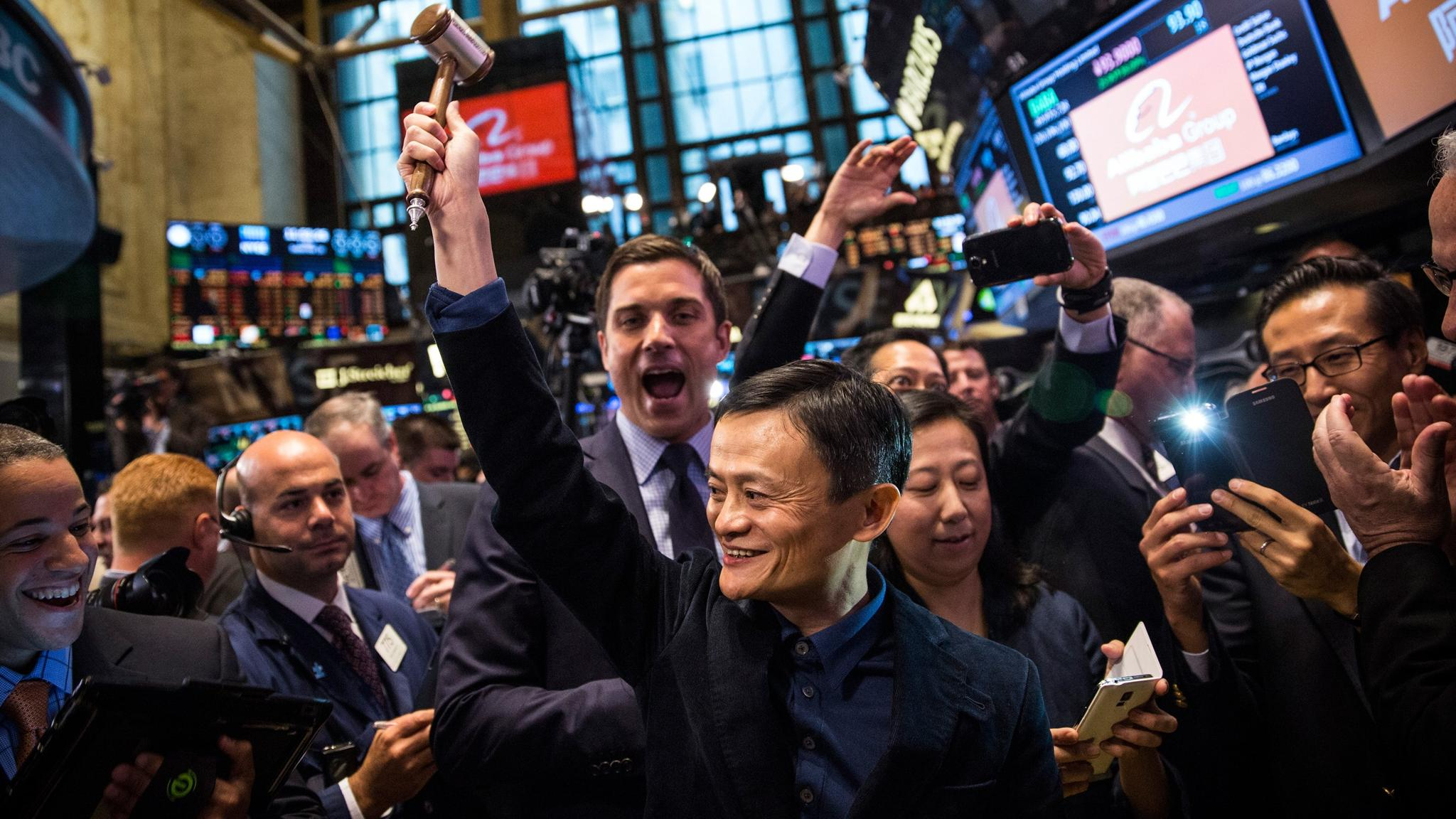 Jack Ma en el IPO de Alibaba en el New York Stock Exchange