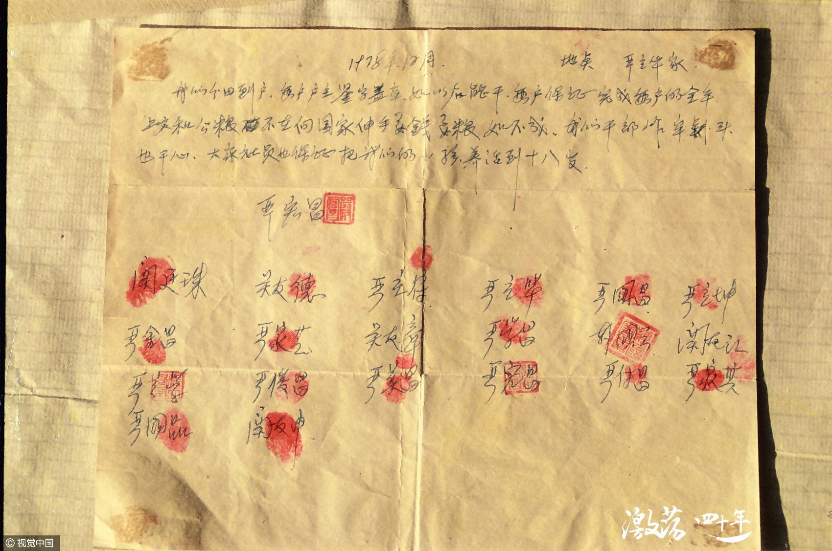 Acuerdo redactado por Yan Hongchang y firmado por los aldeanos de Xiaogang.