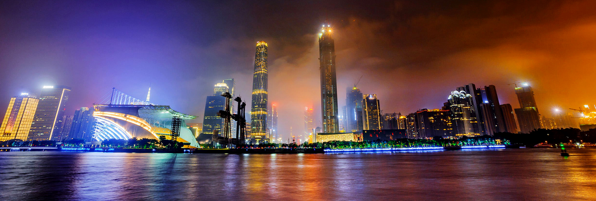 Río Perla de noche, Guangzhou